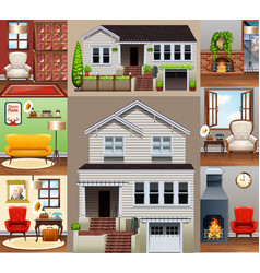 house and rooms in the house vector image