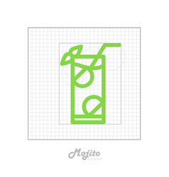 Icon of cocktail with modular grid mojito vector