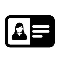 Identity card icon female user person profile vector