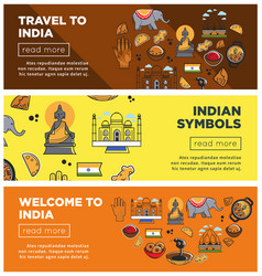 india travel landmarks and symbols banners vector image