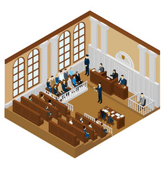 Isometric judicial system concept vector