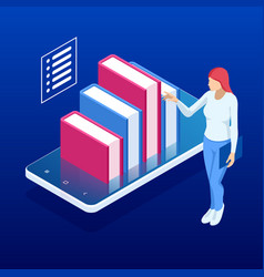 isometric online digital library e-book e vector image