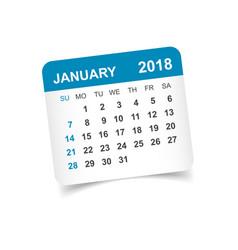 january 2018 calendar calendar sticker design vector image