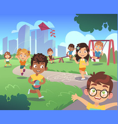 Kids playground play children nature outdoor vector