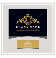 Letter c logo design concept royal luxury gold vector