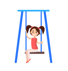 Little girl with ponytails sits on blue swing vector