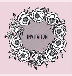 Luxury rosy and black peony flowers wreath vector