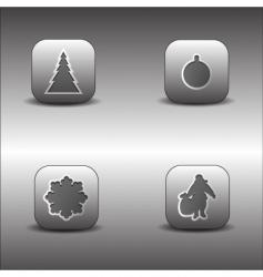 metallic Christmas icons vector image