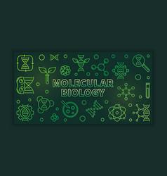 Molecular biology outline green banner or vector