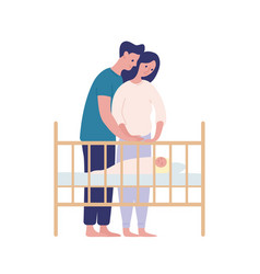 Mother and father watching at sleeping baby flat vector