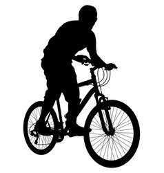 mtb cyclist silhouette vector image