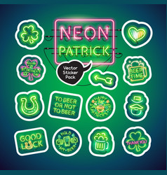 neon st patricks day sticker pack vector image