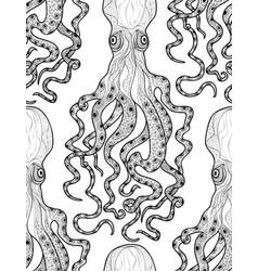 Octopus seamless pattern underwater seafood vector