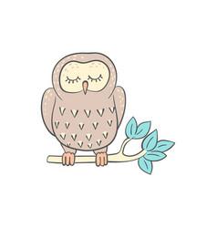 owl sleeping on tree branch cute doodle vector image