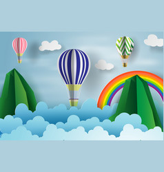 paper art of balloon floating over the sky and vector image