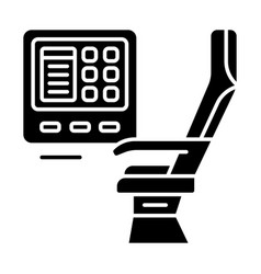 Passenger seat with multimedia screen glyph icon vector