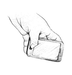 person hand using a generic smart phone vector image