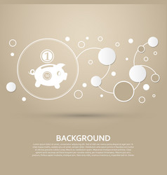 piggy bank and dollar coin icon on a brown vector image