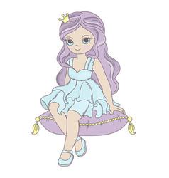 princess fairy tale beautiful girl cartoon vector image