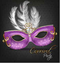 Purple ornamented mask with feathers vector