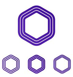 Purple six corner logo design set vector