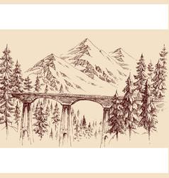 Railway bridge in mountain landscape hand drawing vector