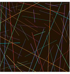 Random chaotic colorful lines texture on black vector