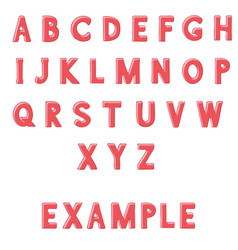Red font alphabet letters hand drawn doodle vector