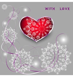 Red heart with laces and thin ribbons vector