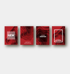 red paper cut wave shapes layered curve origami vector image
