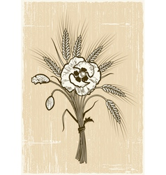 Retro wheat and poppies bouquet vector image