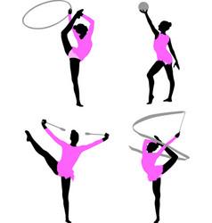 rhythmic gymnastics silhouettes vector image