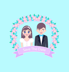romantic wedding card vector image