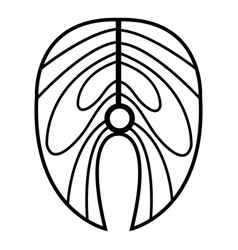 salmon steak icon outline style vector image
