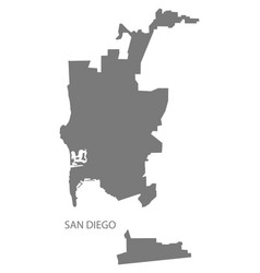 San diego city map with boroughs grey silhouette vector