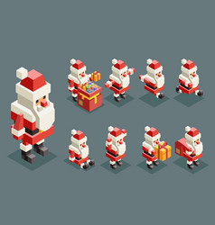santa claus christmas old man lowpoly polygonal vector image