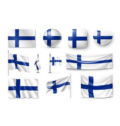 set finland flags banners banners symbols flat vector image