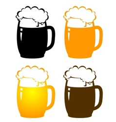 Set of beer mugs vector