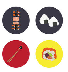 set of japanese food vector image