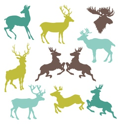 Set of Reindeer Christmas Silhouettes vector image