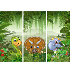 Set of three dinosaur background vector