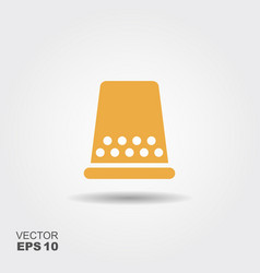 sewing thimble icon in flat style icon vector image