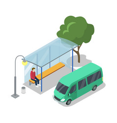 shuttle van stop isometric 3d icon vector image