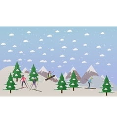 Ski track and people skiing vector
