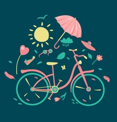 Spring composition with a bycicle vector image