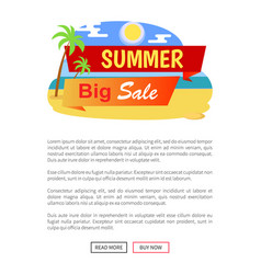 summer big sale label poster with tropical beach vector image