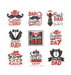 Super dad logo set fathers day vector
