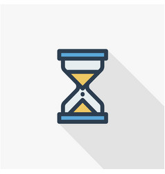 Timer sand hourglass glass clock thin line flat vector