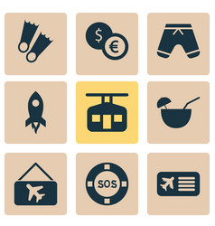 Tourism icons set with lifebuoy picture airplane vector