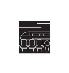 train station black concept icon train vector image